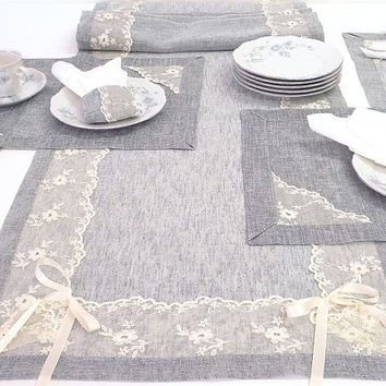 Adorable wedding table runner long modern dining table décor natural feeling fabric and  French lace bridal decoration bride's decor gift