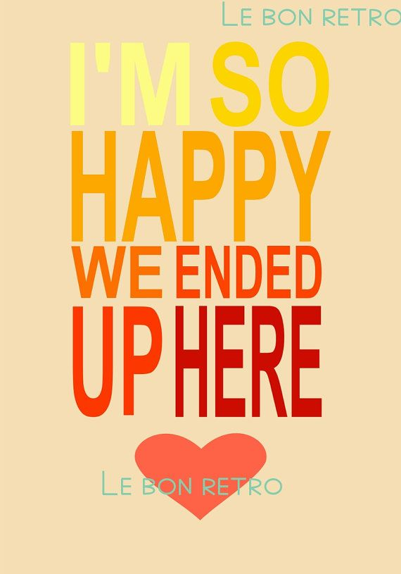 Printable Love art typographic print I am so happy by Lebonretro, $6.00