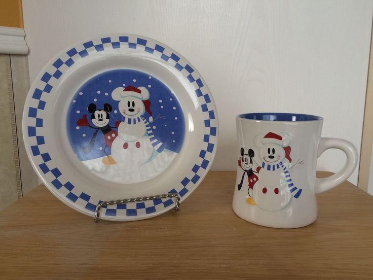 Disney Mickey Mouse China Plate Coffee Mug Set Snowman White Checkered Blue #Disney