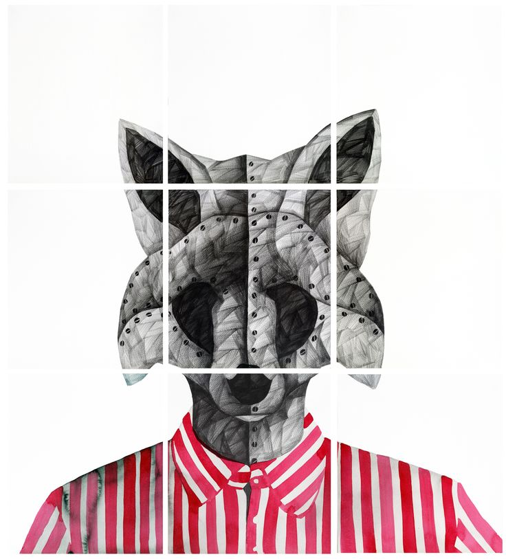 'F' for Fox, by Phaneendra Nath Chaturvedi Pencil & Water Colour on Archival Paper, 33 X 30inc., Work in 9 units (each unit 11 X 10 inc.), 2011 — in Gurgaon.