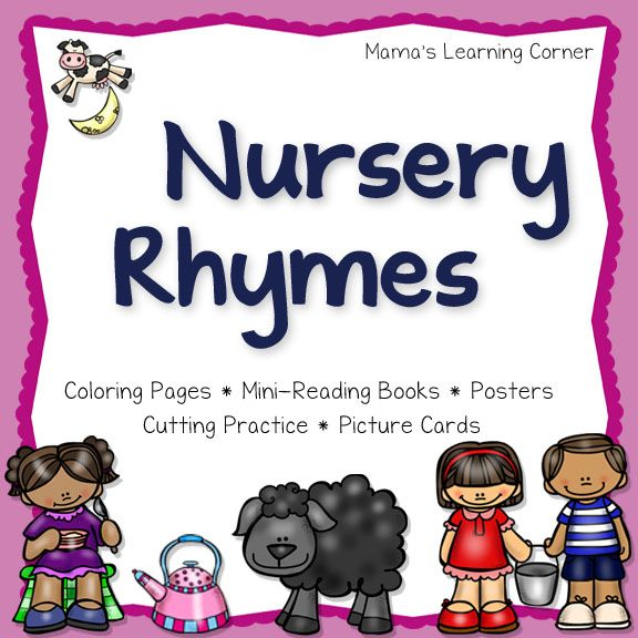 Nursery Rhymes: Printable Activities for 5 classic nursery rhymes!  Cutting practice, coloring pages, picture cards, posters, and mini-reading books!