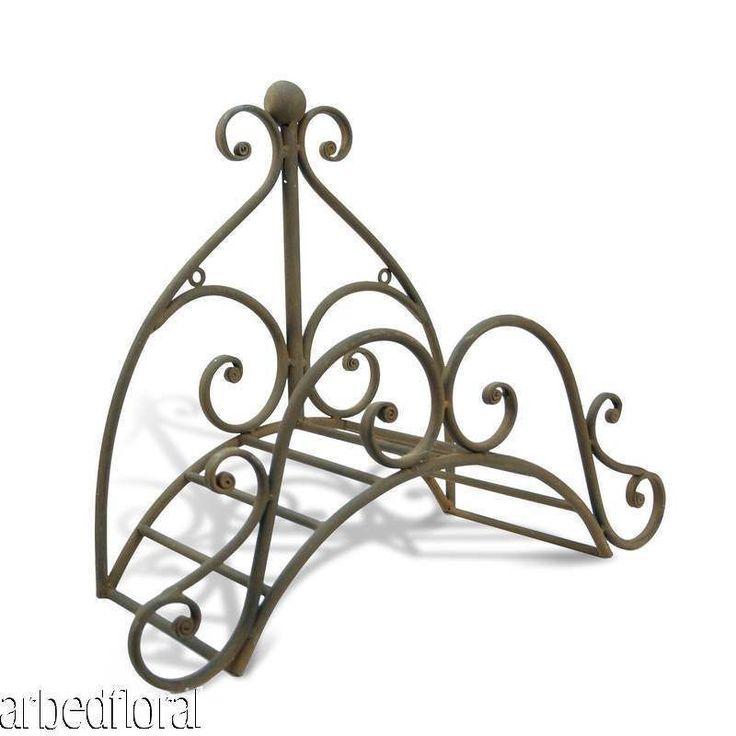 Wrought Iron Fleur Garden Hose Holder Wall Mounted Decorative Rustic Brown
