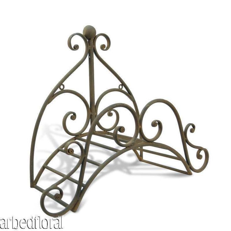 Wrought Iron Fleur Garden Hose Holder Wall Mounted Decorative Rustic Brown Gardens Brown And