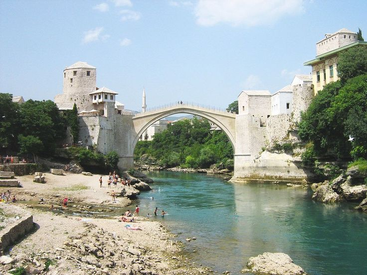 Stari Most (Old Bridge) crosses the river Neretva in the city of Mostar, Bosnia and Herzegovina.