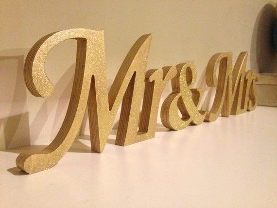 "Gold Glitter Mr. & Mrs. letters wedding table decoration, freestanding Mr and Mrs signs for sweetheart table | 5"" unpainted $34"