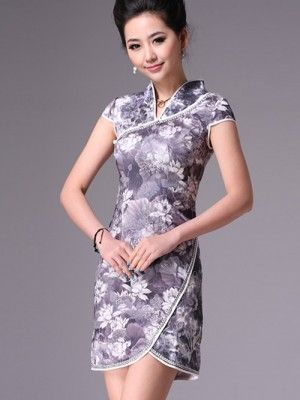 Gray Short Cheongsam / Qipao / Chinese Evening Dress with Lotus Print