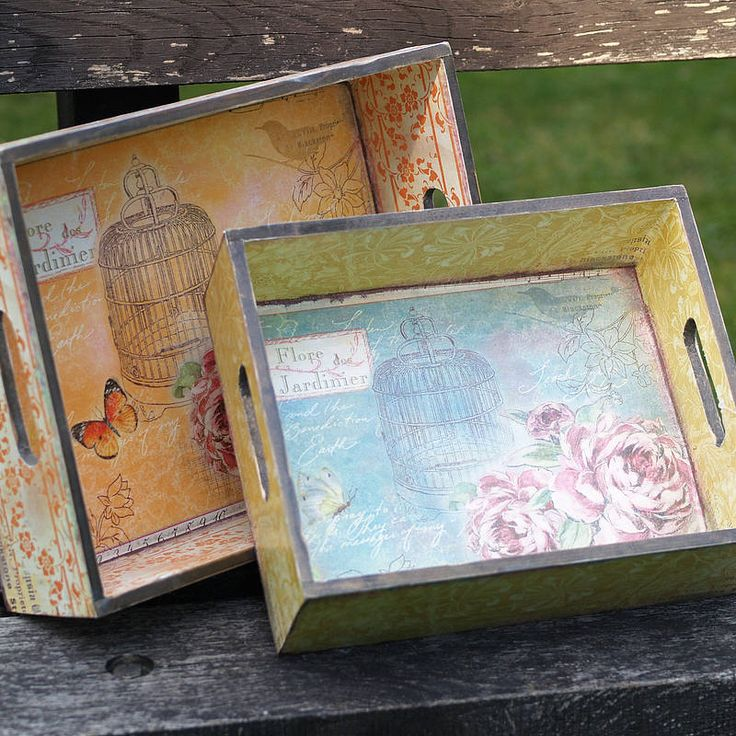 Floral Vintage Style Butterfly Trays Set