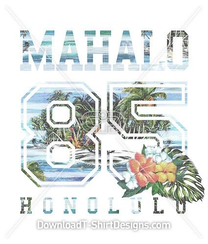Mahalo Vintage Tropical Island Collegiate Number. Download this design & print on your T-Shirts or products today