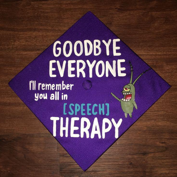 JMU Degrees Graduation Cap Mortar Board Communication Sciences and Disabilities Language Language Pathology SLP Therapy SpongeBob Plankton Go Dukes James Madi