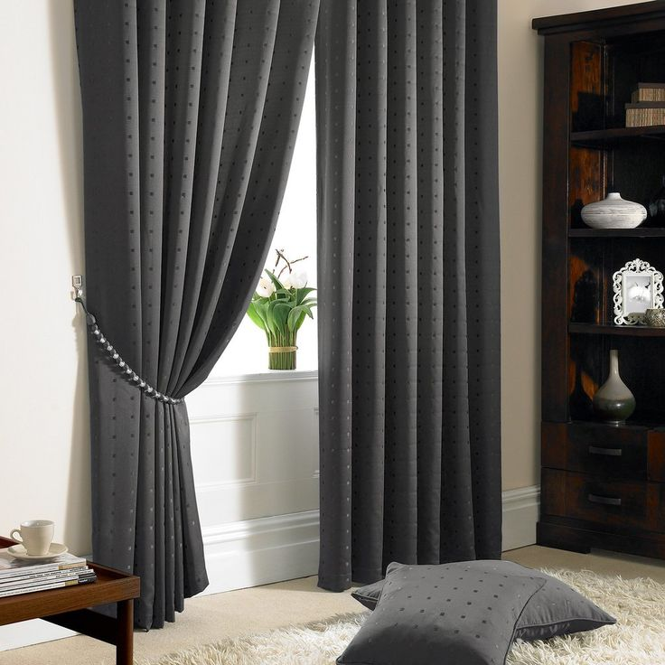 Jacquard Pencil Pleat Curtains, Charcoal Grey – PASX UK