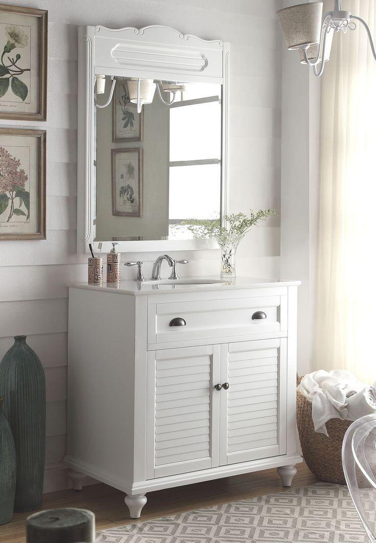 """34"""" Cottage look White Glennville Bathroom Sink Vanity & mirror Model CF-28667W-MIR"""