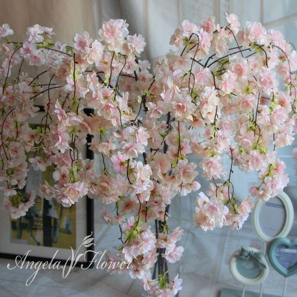 7pcs Lot Natural Vertical Silk Cherry Blossom For Wedding Decoration Diy Cherry Trees Artificial Flower Bouquet Big Size Wish Artificial Flower Bouquet Flowering Vines Artificial Flowers