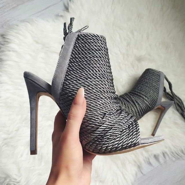 Rope Detail Peep Toe Booties