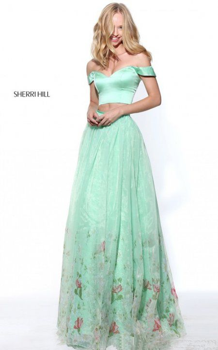 Sherri Hill 51053 Green Floral Print A Line Two Piece Long Prom Dress