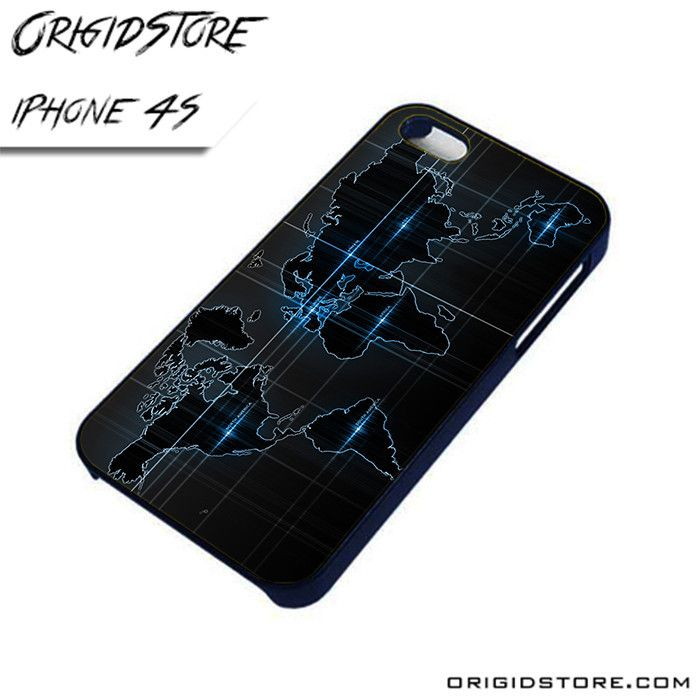 World Map Black Wave Black and Blu in World Map AL iPhone 4/4S case