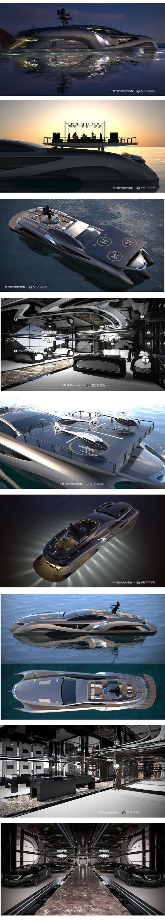 Concept Superyacht Xhibitionist by Gray Design: This extraordinary yacht by is 75-meters in size and decked out with the best of technology and design. Features a car showroom, retail space, entertaining room and a roof with built-in solar panels that double as a helicopter landing pad. On the engine side, it boasts a 630-horsepower V12 engine, making quick getaways a breeze. If you have to ask the price you can't afford it. For more ideas: http://www.jetclassgroup.com/en/ #ad