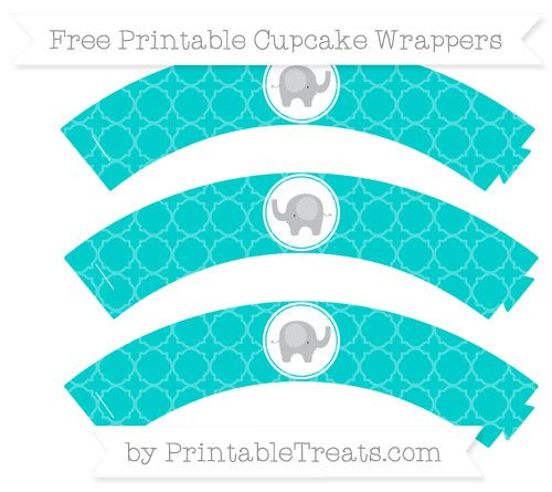 Free Robin Egg Blue Quatrefoil Pattern Baby Elephant Cupcake Wrappers