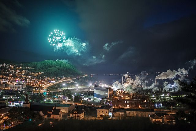 A photo of the Canada Day fireworks lighting up the skies of Corner Brook, Newfoundland on July 1st 2012 by Candace Cunning.