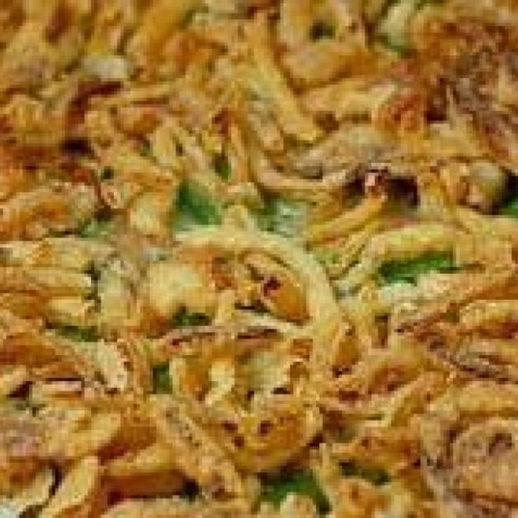 This is the green bean casserole my mom made for the holidays.  I think she may have gotten it from  Campbells.   ** You can substitute 2 16oz. cans of green beans for the frozrn ones. Drain them first.