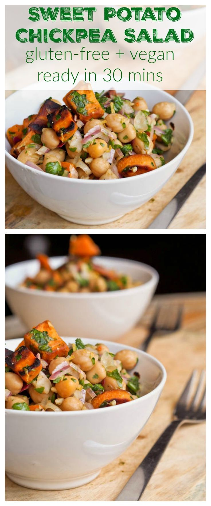 This vegan + gluten free sweet potato and chickpea salad recipe is ready in 30 mins and bursting with flavor from the parsley, lemons, red onions and medley of spices. Perfect for a healthy weeknight meal in line with those clean eating New Year's Resolutions