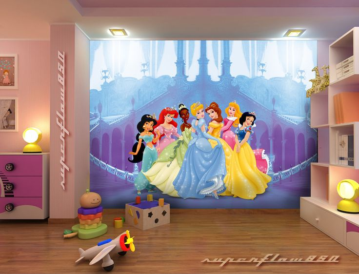 Details about kids photo wallpaper disney princesses for Disney princess wallpaper mural