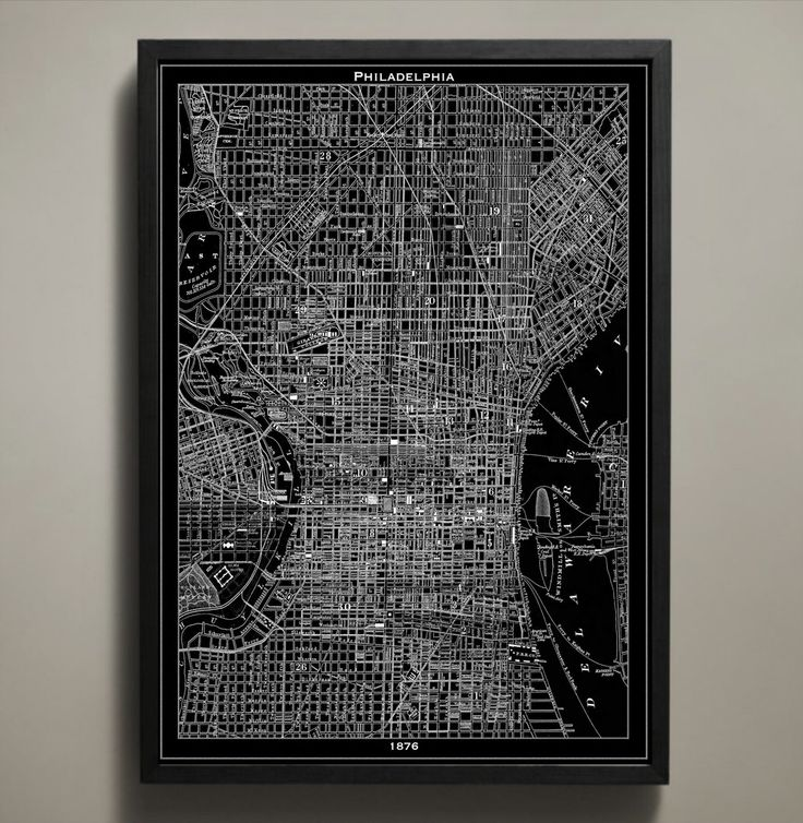 """The """"City of Brotherly Love"""" fills up every bit of this poster's space with its streets, tunnels, bridges, parks and neighborhoods. It was this year, 1876, that Philadelphia hosted the US World's Fair, bringing tourists from all over to its historic streets. #philadelphia-map-print"""