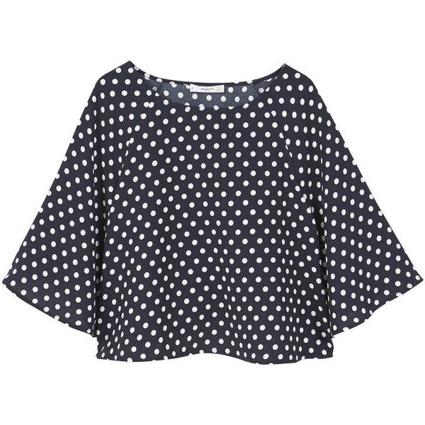 Polka-Dot Blouse ($39) ❤ liked on Polyvore featuring tops, blouses, flared sleeve top, dot blouse, mango tops, 3/4 sleeve tops and 3/4 length sleeve tops