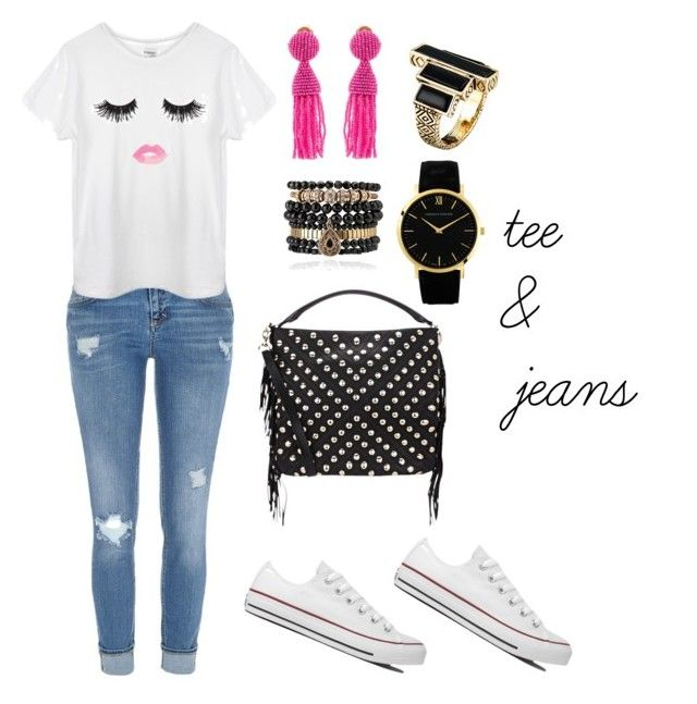 Tee & Jeans by earringsandstuff on Polyvore featuring polyvore, fashion, style, River Island, Converse, Rebecca Minkoff, Larsson & Jennings, Oscar de la Renta, Samantha Wills and House of Harlow 1960