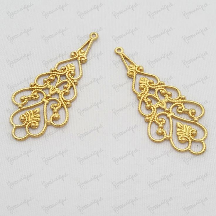 8 Antiqued Gold Plated Metal Filigree Drop Connector 41x18mmm B1296 by yooounique on Etsy