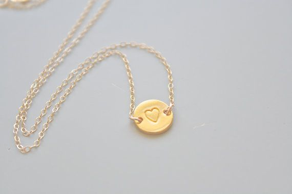 Gold Necklace, Heart Necklace, Simple Necklace, Bridesmaid Gift, Bridal Jewelry, Everyday Necklace, mothers day gift