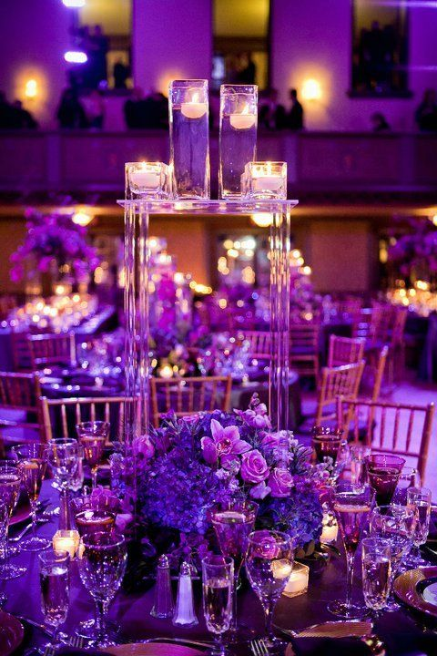 I love this. Candles and Flowers. It doesn't need to be so elobrate. I would make it more simple. A Spectacular #Purple Themed #Wedding with Luxurious Details