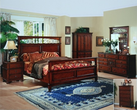 Santa Fe bedroom. Bed with wrought iron and wood headboard & footboard.