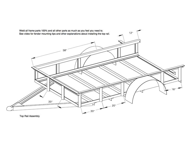 Red Wing Steel Works 5x8 utility trailer plans top rail