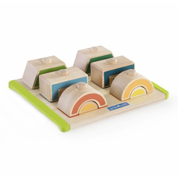 The versatile features of Mix and Match Stacks provide numerous learning activities with colorful rubberwood blocks and a corresponding puzzle board. Stack the shapes on the pegs by mixing and matching the multi-sized pieces. Chunky, recognizable shapes in bright colors fit easily on the pegs of the puzzle board while smaller shapes nest easily into the larger pieces.
