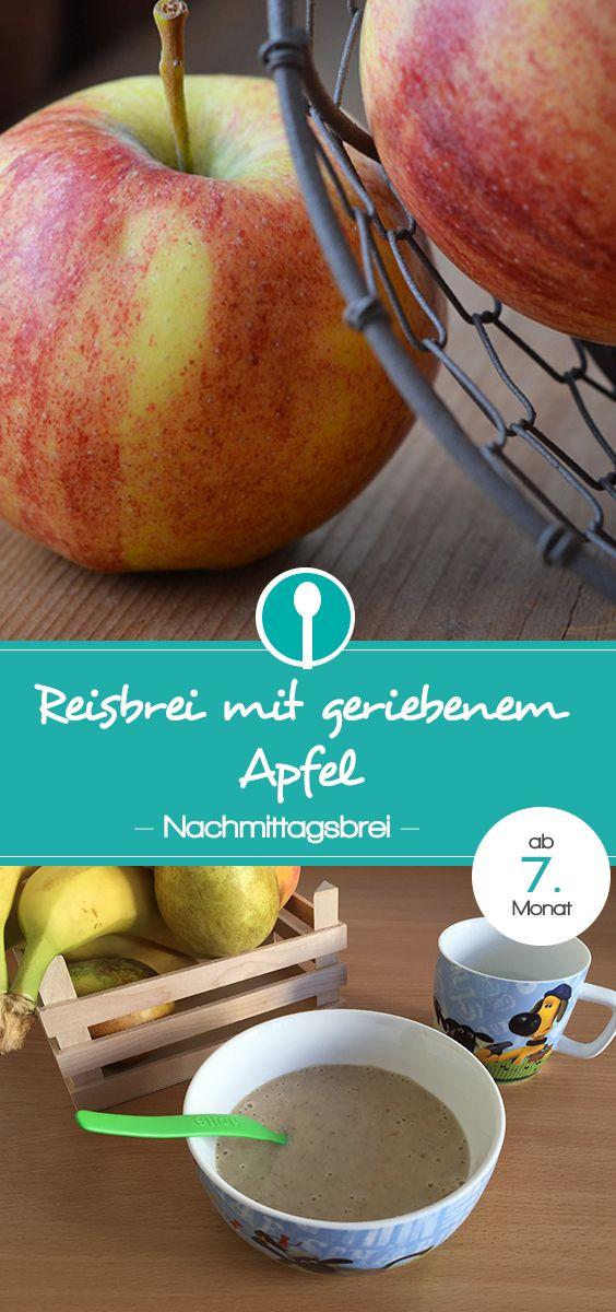 Babybrei mit Reisflocken und geriebenem Apfel. Nachmittagsbrei Rezept für Babys ab dem 7. Monat. (Getreide-Obst-Brei).