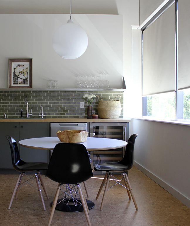 Kitchen, green subway tile and floating shelves.