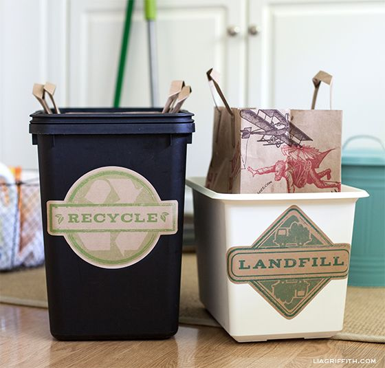 Free printable Trash Can labels, print on worldlabel.com kraft paper. Design by Liagriffith.com