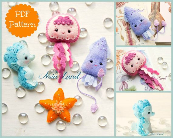 This PDF hand sewing pattern will give you instructions and patterns to make the Sea Animals pictured  Size (approximately):  . Jellyfish - 5 . Seahorse