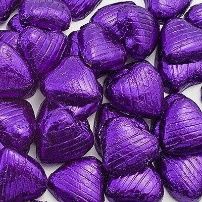 100 purple foil chocolate love hearts wedding favours