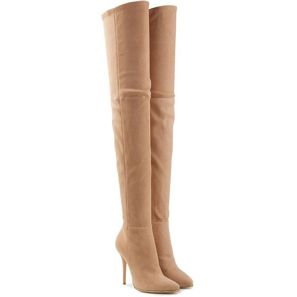 Balmain Suede Thigh-High Boots (£1,649) ❤ liked on Polyvore featuring shoes, boots, heels, beige, over-the-knee suede boots, over knee boots, suede thigh high boots, above the knee boots and beige suede boots