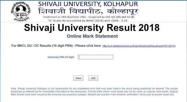Shivaji University Result 2019, Check www unishivaji ac in UG PG