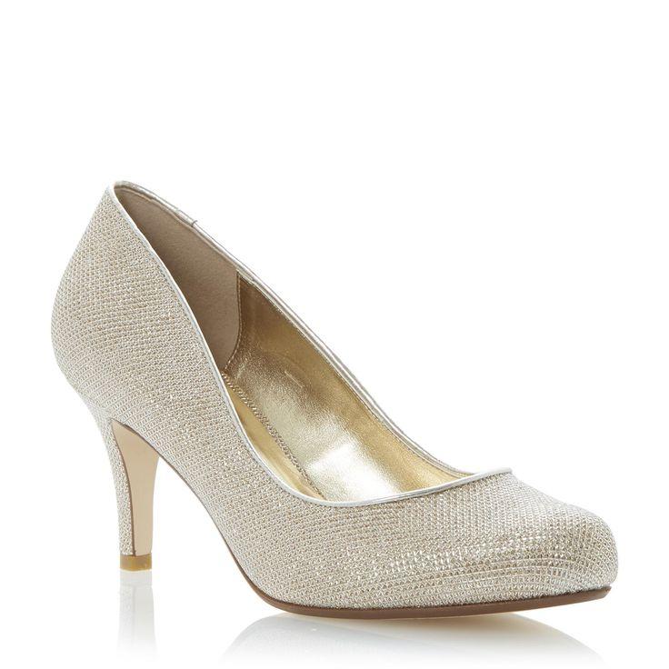 Marvelous DUNE LADIES AMELIA   Mid Heel Court Shoe Gold | Dune Shoes Online