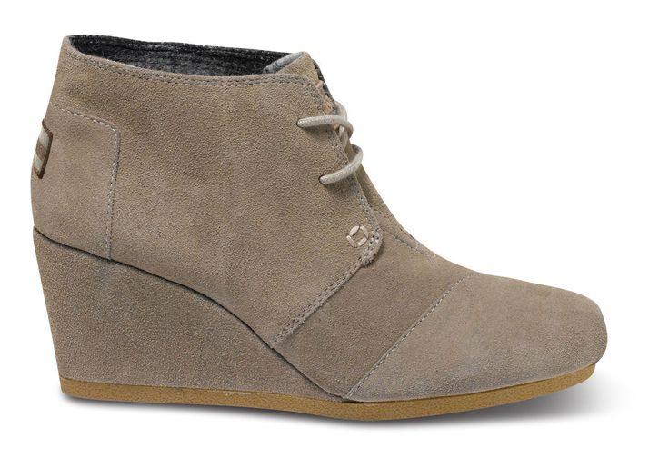 Taupe Suede TOMS Desert Wedge