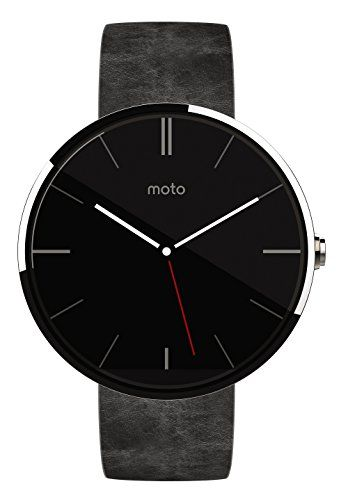 Motorola-Moto-360-Montre-connecte-Android-Wear-pour-appareil-Android-43-et-plus-Argent-Cuir-Gris-0