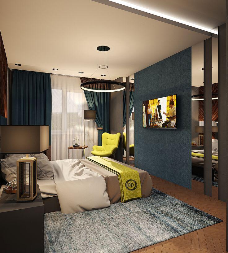 Интерьер спальни в серой цветовой гамме. Зеркала визуально расширяют границы комнаты