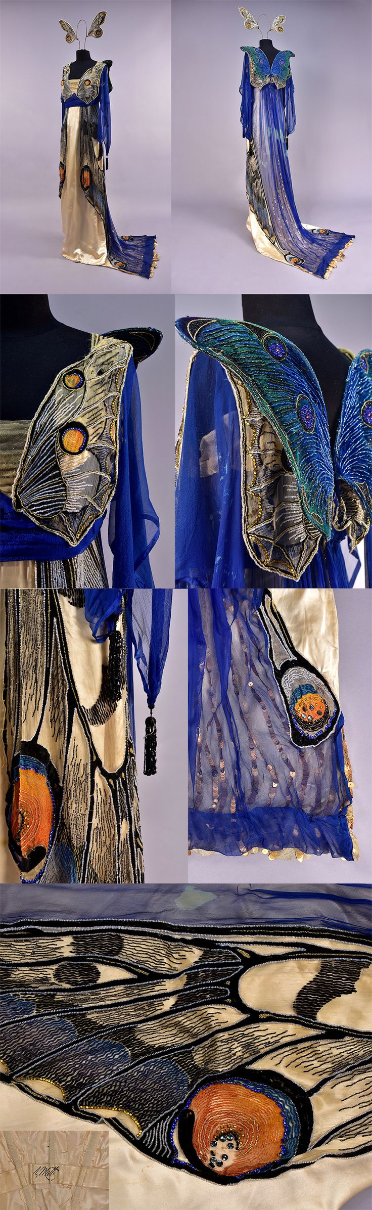 Worth beaded butterfly fancy dress gown, circa 1912 | Trained ivory silk charmeuse beneath a heavily decorated chiffon overlay, the bodice front and back having a pair of butterfly wings in gold, white and blue beads, back of dress covered in blue chiffon over tulle with large gold sequined stripes, gold lamé loop to raise the train. Matching headpiece of wings in matching decoration on chiffon. Former property of Margaret Draper, Princess Boncompagni. Charles A. Whitaker Auctions