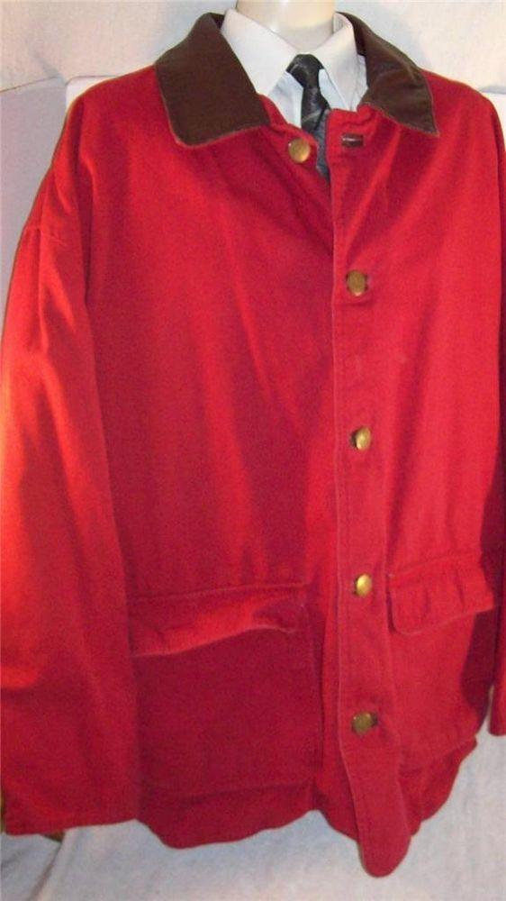 Marlboro COWBOY men jacket RED barn chore coat leather canvas ...