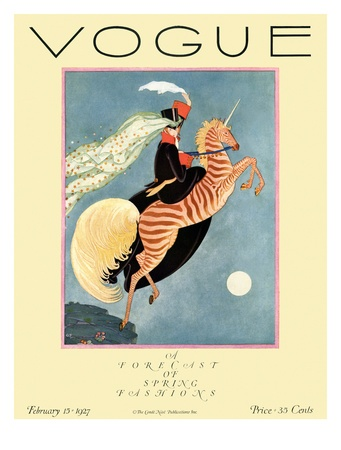 Vogue Cover - February 1927 Giclee PrintWolf Planks, Zebras Unicorns, Vintage Illustration, George Wolf, February 1927, Magazines Covers, Art Deco, Vintage Vogue, Vogue Covers