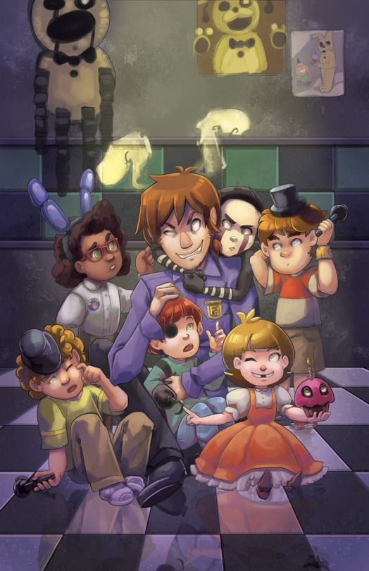 Freddy,Bonnie,chica,foxy and golden Freddy also the marionette and of course the purple guy