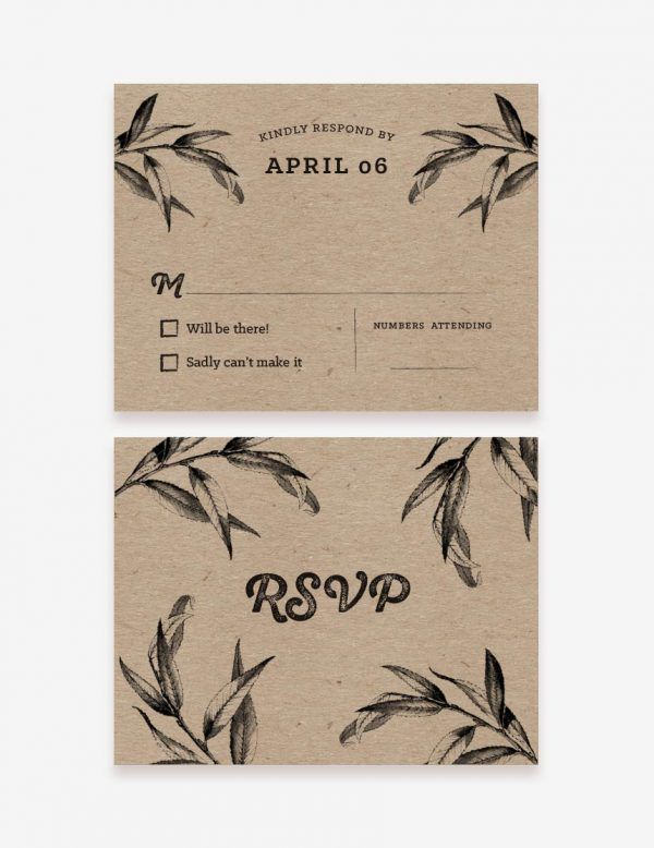 Rustic RSVP Card. Get this printable at www.inatondesign.com